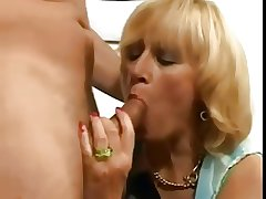Hairy flaxen-haired grown up with saggy tits fucked