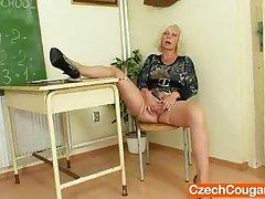 Cougar crammer loves to masturbate after school