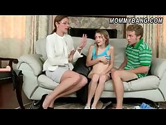 Sexy milf Samantha Ryan cum in the first place glasses in this 3some carry on
