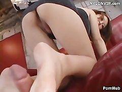 leg sex on touching bare footjob cumshot