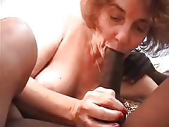 Granny fucked by young black, sucks and anal copulation