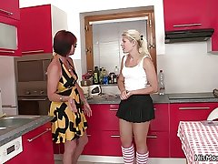 Hot mature and teen lesbian scene in the first place the kitchen
