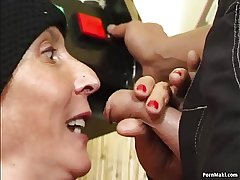 Hairy granny fucked above the pool table
