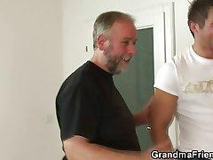 Naff granny enjoys having it away a handful of cocks