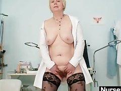 Big tits age-old lady in uniform fingers perishable pussy