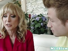 Busty of age riding on cock before facial