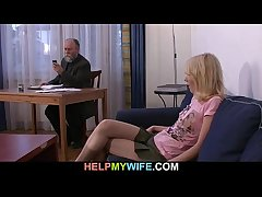 Old husband pays a wean away from in nail her young wife