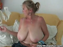 Granny with obese tits masturbates alongside pantyhose