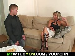 Hot mother-in-law sucks and rides his randy gumshoe