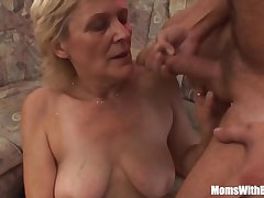 Blonde Old Mama In Stockings Shaved Pussy Fucked  HD