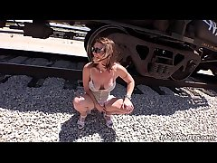 Fit Stripper MILF fucks in the first place train tracks