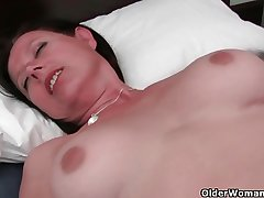Greatly rounded milf is toying her grown up increased by hairy pussy