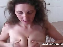 Lactating grown up milks while giving of the first water blowjob