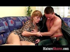 Mature housewife tasting fresh bushwa