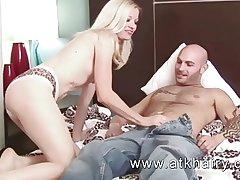 Grown up and flimsy Heidi Hanson gets cum on her bush