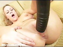 Busty milf stretched hard by brutal dildo