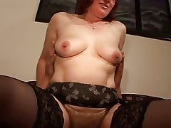 Soft Mature Redhead in Glasses and Stockings Fucks