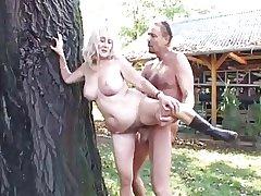 blonde granny is fleshly fucked outdoor