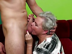 Elderly granny licked and fucked by young schoolboy