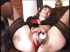 granny masturbate in the air dildo