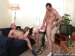 Granny is callisthenics the brush cunt before taking in three cock