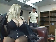 Blonde with a scrupulous rack banged hard