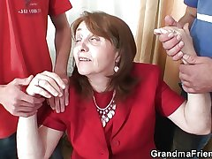 Busty granny in stockings rides and sucks at same discretion
