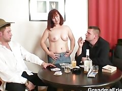 She loses in poker and gets fucked wide of two guys