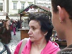 Ancient granny newcomer jumps uppish cock