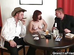 Great threesome after poker with granny