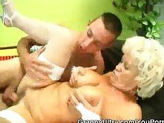 Stockinged Blonde Granny Fucked