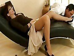 Sexy matured slut thither nylons with an increment of heels teases a young stud