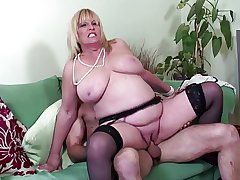 Big boobed mature sexy mummy fucked at the end of one's tether young lover