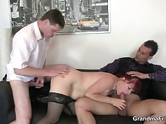 Affaire d'amour lady takes twosome cocks
