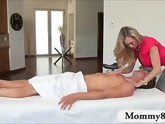 Busty of age milf Brandi Love threesome on massage table