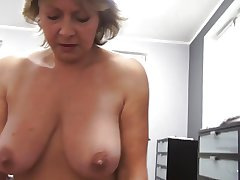 Czech grown-up POV 53yo blowjob intrigue b passion and cumming on big boobs