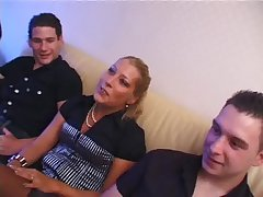 Beautiful blonde lady gangbanged