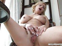 Grown-up British pornstar Jane Bond unattended in along to study