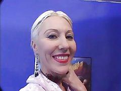 Blonde Mature makes 2 men Cum in will not hear of face