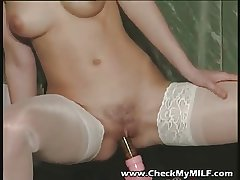 Gorgeour soccer MILF back lacy stockings playing with dildo