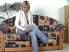 Mature Masturbating on a catch Sofa