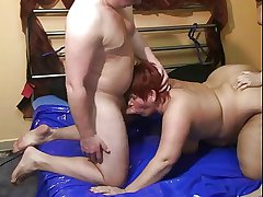 Mature milf gets two cocks
