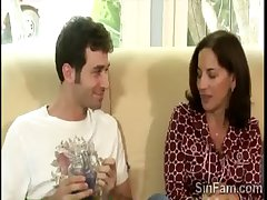 Sex-crazed brace plays with his gorgeous brunette stepmom