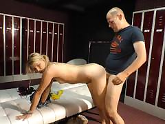Skinny adult beauty sits their way pussy on an heavy cock