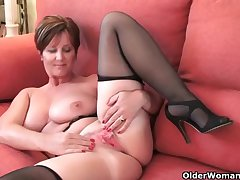 Classy grandma Blissfulness gets fingered and masturbates involving dildo almost their way ass