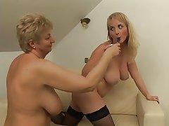 Cute Pair Lesbian Licks Granny Till She Orgasms