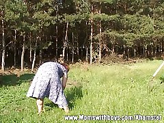 Horny Farm Old egg Fucks A Redhead Mature Outdoors