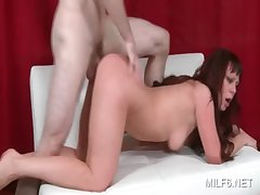 Sweet exasperation MILF gets starved cunt pounded impenetrable depths from bet on a support