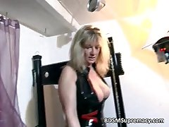 Blonde mature mistress plays more her