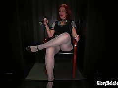 Gloryhole Secrets grown up redhead swallows cum